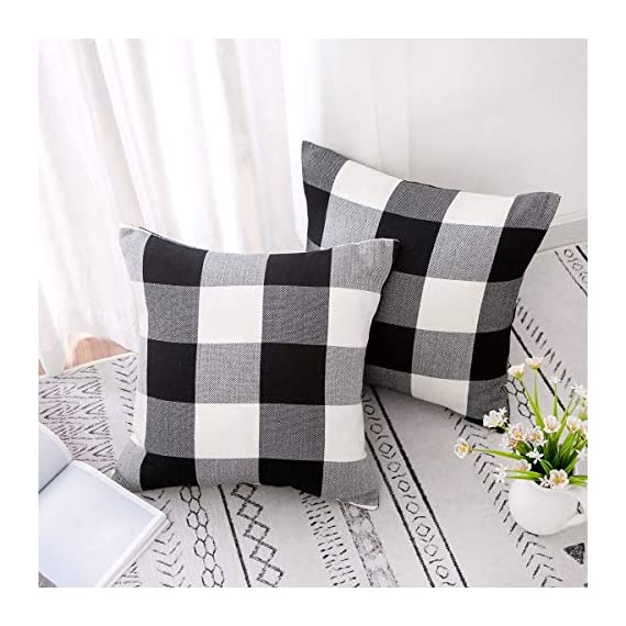 Vanky Set of 2 Buffalo Check Plaid Pillows Farmhouse Decor Christmas Pillow Covers Fall Outdoor Pillows Outside Porch Pillows Cotton Linen Throw Pillow Covers Black White 18 x 18 Inches - SIZE:18 x 18 Inch / 45 x 45cm.Square throw pillow covers Suitable for sofa, front porch,bed,living room,home,office,car seat,outdoor. MATERIAL:Grade A Cotton Linen,Classic Retro Plaids,This linen fabric can easily match with all styles of furniture.These cushion covers are also great gifts for each holiday,Like Halloween Thanksgiving Day, Christmas Day. Package includeds 2 pcs pillow covers without pillow inserts. - patio, outdoor-throw-pillows, outdoor-decor - 51tMbPx1FmL. SS570  -