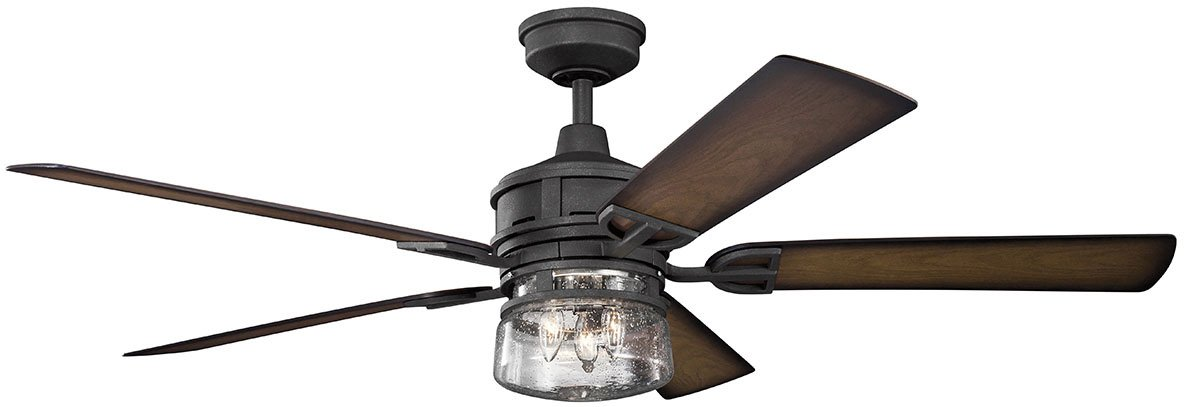 Kichler Lighting 310140DBK Lyndon Patio Outdoor Ceiling Fan with Light, 60'', Distressed Black
