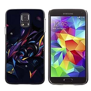 Be Good Phone Accessory // Dura Cáscara cubierta Protectora Caso Carcasa Funda de Protección para Samsung Galaxy S5 SM-G900 // Black Dark Abstract Shapes Gold