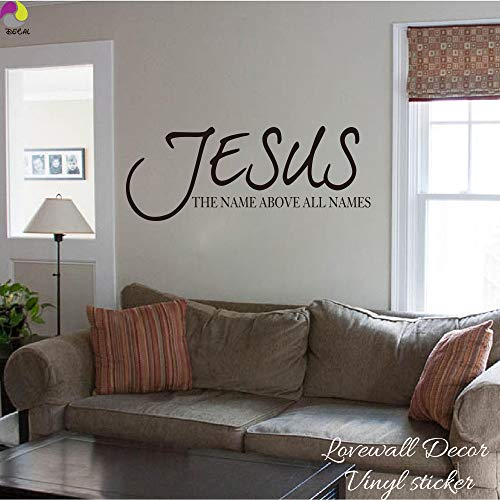 PPL21 Wall Stickers - Jesus Name Above All Names Saying Wall Sticker Living Room Bedroom Bible Verse Quote Wall Decal Vinyl Home Decor Art Mural 1 PCs