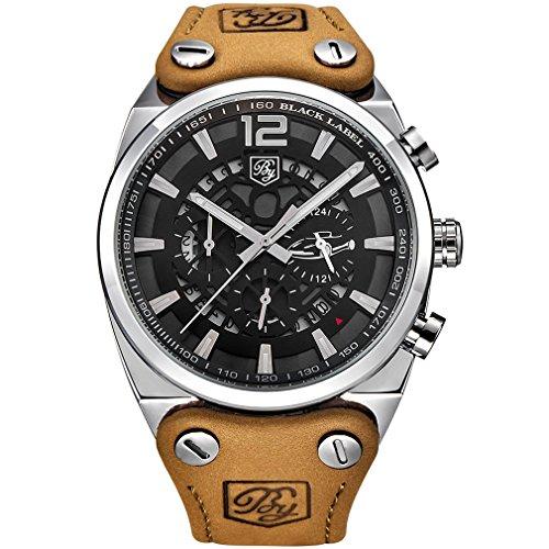 - BENYAR Cool Men's Quartz Chronograph Waterproof Watches Sport Military Leather Band Strap Wrist Watch (Silver White)