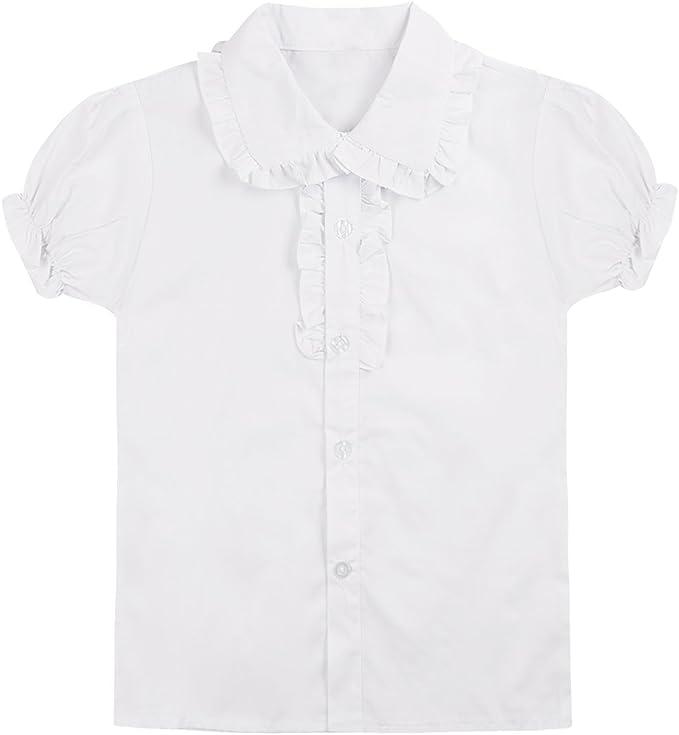 dPois Blusa Blanca Niña Top de Uniforme Escolar Camisa Mangas Cortas Algodón Básico Clásico Ropa Casual School Uniform Blouse 4-13 Años: Amazon.es: Ropa y accesorios