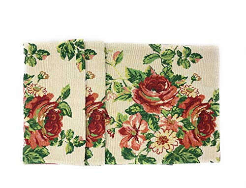 Tache Sweet Roses Spring Summer Flower Traditional Country Vintage White Red Floral Decorative Woven Tapestry Long Kitchen Dining Table Runners, - Cottage Rose Dinner
