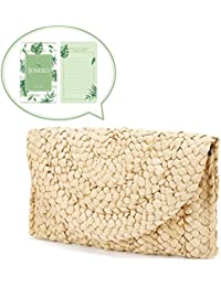 Straw Clutch Handbag, JOSEKO Women Straw Purse Envelope Bag Wallet Summer Beach Bag
