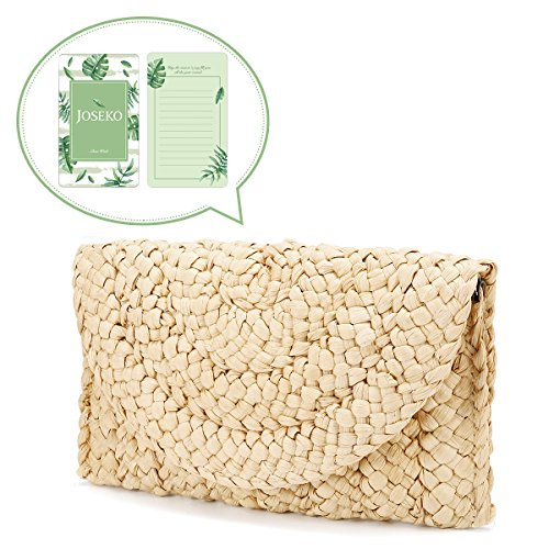 Straw Clutch Handbag, JOSEKO Women Straw Purse Envelope Bag Wallet Summer Beach Bag by JOSEKO
