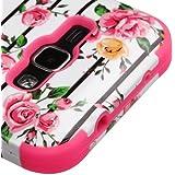 Samsung Galaxy Luna 4G S120VL / Galaxy J1 J120 (2016) Case, Kaleidio [TUFF] Impact Resistant Heavy Duty Dual Layer Hybrid Armor Cover [Includes a Overbrawn Prying Tool] [Fresh Pink Flowers]