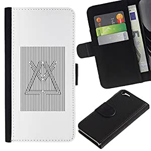 KingStore / Leather Etui en cuir / Apple Iphone 6 / Prisma Refracción de la luz blanca Negro