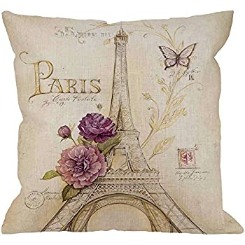 HGOD DESIGNS Eiffel Tower Pillow Case, Vintage Letter Paris Eiffel Tower with Flower and Butterfly Cotton Linen Cushion Cover Square Standard Throw Pillow for Men/Women 18x18 inch Retro Yellow