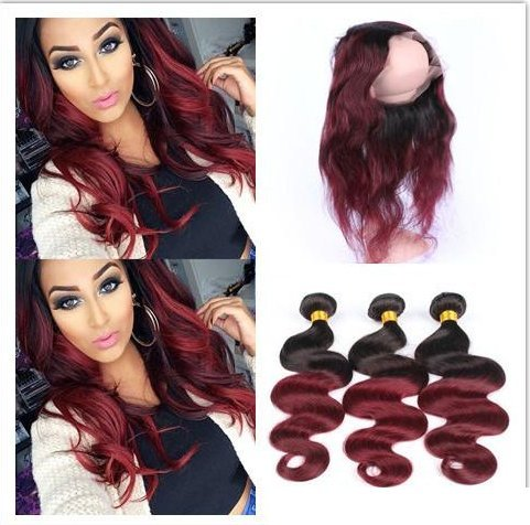 8A-Ombre-Brazilian-Virgin-Hair-With-360Frontal-Human-Hair-3-Bundles-With-Closure-1Bburg-color-TwoTones-Brazilian-Body-Wave-With-360Frontal