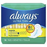 ALWAYS Ultra Thin Size 1 Regular Pads With Wings Unscented, 18 Count