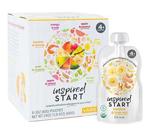 Early Allergen Inclusion Baby Food: Inspired Start Variety Pack, 3 oz. (Pack of 8 baby food pouches) - Non-GMO, include peanut, tree nut, soy, sesame, wheat, egg, cod and shrimp in baby's diet