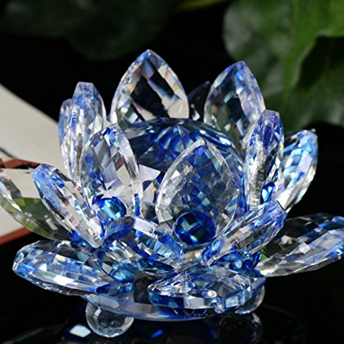 LtrottedJ Lotus Crystal Glass ,Figure Paperweight Ornament Feng Shui Decor Collection (A)