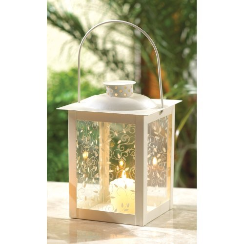 20 Wholesale Large Ivory Color Glass Lantern Wedding Centerpieces by Tom & Co.