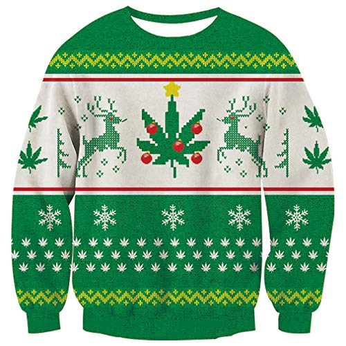 RAISEVERN Unisex Reindeer Snowflake Design Ugly Christmas Xmas Pullover Sweater for Teen Junior Boys Girls ()