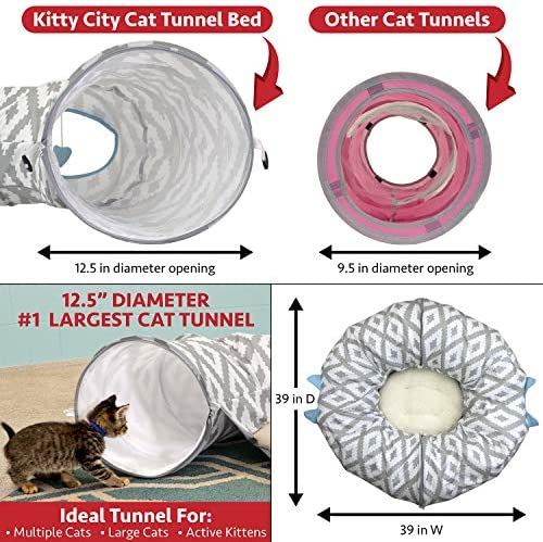 Kitty City Large Cat Tunnel Bed, Cat Bed, Pop Up Bed, Cat Toys, Christmas Tree 6