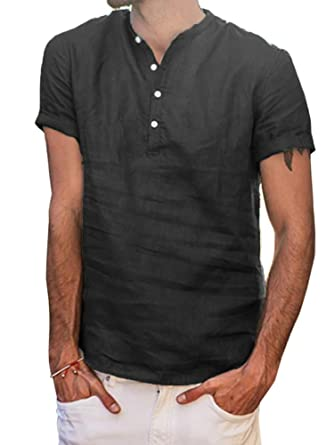 d6d31777cb5 Mens Casual Cotton Linen T Shirts V Neck Slim Fit Tee Short Sleeve Shirt  Curved Hem Tops at Amazon Men s Clothing store