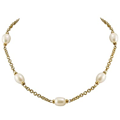 Doyenne AAA White Freshwater Pearl 18ct Gold Vermeil Chain Necklace