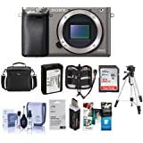 Sony Alpha A6000 Mirrorless Digital Camera Body, Graphite, 24.3MP - Bundle Camera Bag, 32GB Class 10 HS SDHC Memory Card, Spare Battery, Cleaning Kit, Tripod, Memory Case, Software Pack More