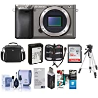 Sony Alpha A6000 Mirrorless Digital Camera Body, Graphite , 24.3MP - Bundle with Camera Bag, 32GB Class 10 HS SDHC Memory Card, Spare Battery, Cleaning Kit, Tripod, Memory Case, Software Pack and More