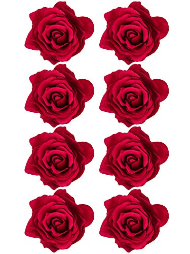 Outus 8 Pieces Rose Flower Hairpin Hair Clip Flower Pin up Flower Brooch, Red ()