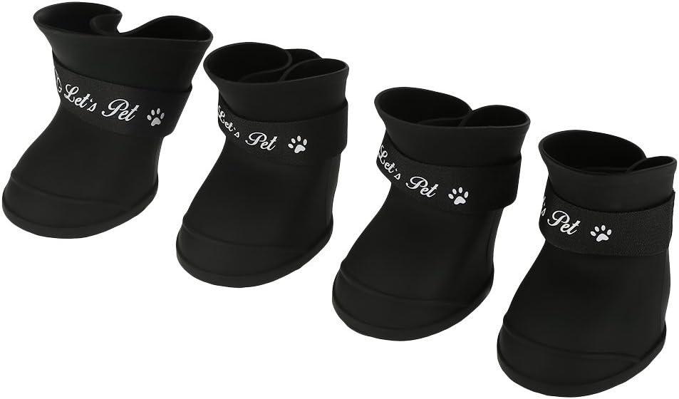 Fdit 4Pcs Lluvia Zapatos Perro Mascota de Silicona Impermeable Antideslizante Zapatos de Lluvia de Protección para Perros Pequeños Animales(M Negro)
