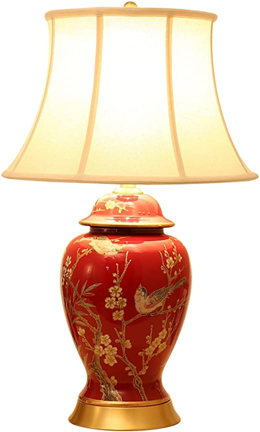 ZfgG Lámpara de mesa de cerámica roja grande E27, flor pintada ...