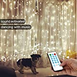 YEOLEH String Lights Curtain,USB Powered Fairy Curtain Lights for Christmas Wall Decorations,Sound Activated Function Can Sync with Any Voice (White,7.9Ft x 5.9Ft)