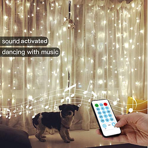 YEOLEH String Lights Curtain,USB Powered Fairy Curtain Lights for Christmas Wall Decorations,Sound Activated Function Can Sync with Any Voice (White,7.9Ft x 5.9Ft) (Curtains Hanging With Drapes Sheer)