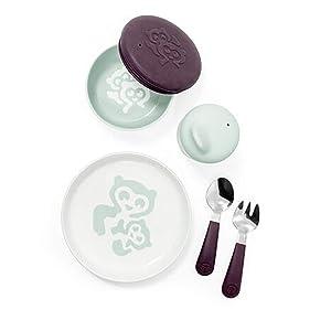Stokke Munch Everyday Soft Mint Microwave and Dishwasher Safe Kids Dinnerware Set