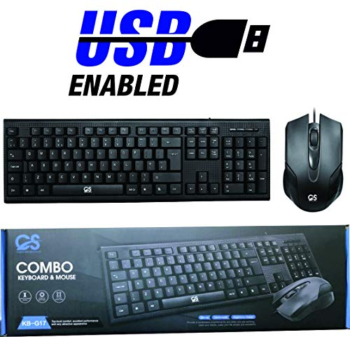 CS KB-G17 UK Black Computer QWERTY PC Keyboard and Mouse USB Wired Combo Set for Windows XP / 7/8 /10