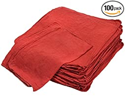 "Shop Towels (Pack of 100, 12"" X 14"") Commercial Grade Machine Washable Cotton Towels Lint Free- Perfect for Home, Cleaning, Mechanic, Automotive, Janitorial or Bathrooms by Cleaning Solutions (Red)"