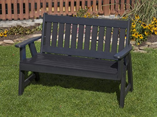 Ecommersify Inc 4FT-Black-Poly Lumber Mission Porch Bench Heavy Duty Everlasting PolyTuf HDPE - Made in USA - Amish Crafted (Lumber Hdpe)