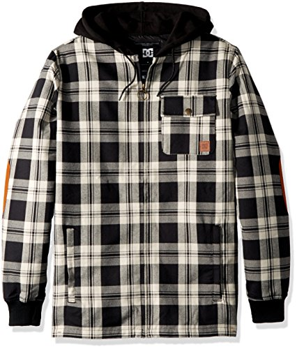 - DC Men's Backwoods Insulated Flannel Shirt Jacket Water Resistant, Moderate Buffalo Plaid Silver Birch, XS