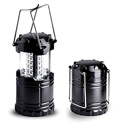 Auto on/off Ultra Bright Water Resistant Collapsable Camping Lantern Light Suitable for: Hiking, Camping, Emergencies, Hurricanes, Outages - Super Bright - Lightweight - - Black Battery not include