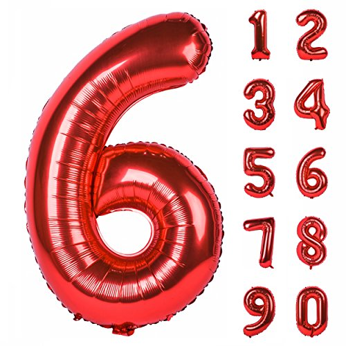 40 Inch Red Large Numbers 0-9 Birthday Party Decorations Helium Foil Mylar Big Number Balloon Digital 6