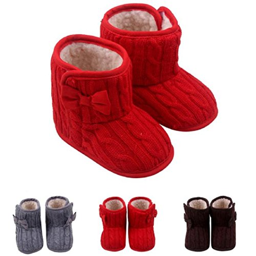 DZT1968® Baby Girl Soft Sole Anti Slip Prewalker Shoes Snow Boots Socks With Bowknot