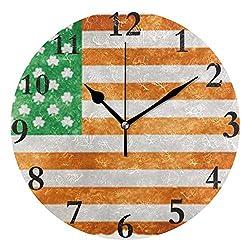 HangWang Wall Clock Irish American Flag Silent Non Ticking Decorative Round Digital Clocks Indoor Outdoor Kitchen Bedroom Living Room