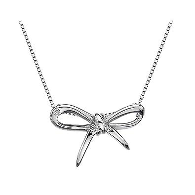 Hot Diamonds Flourish Bow Sterling Silver Pendant on Chain of 46 cm f39niSj