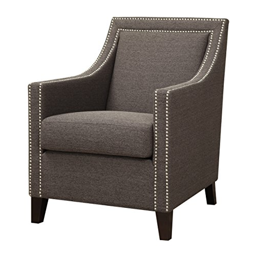(Emerald Home Janelle Brown Accent Chair with Fixed Back And Double Nailhead Trim)