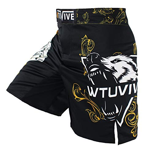 WTUVIVE MMA Shorts for Men Print Muay Thai Shorts Fight Training Boxing Trunks Yellow XXX-Large