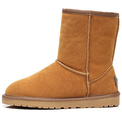 rismart Women Classic Mid-Calf Faux Fur Lined Suede Snow Boots Many Colors Available Tan SN1025 US7.5 mFrsh2F