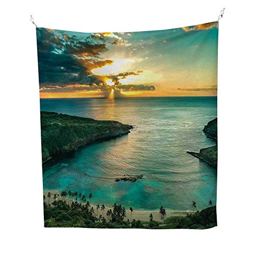 Furniture Turtle Bay - Hawaiian DecorationstapestrySunrise Over Hanauma Bay on Oahu 40W x 60L inch Wall tapestryHawaii Sunbeams Through Dark Clouds Shoreline