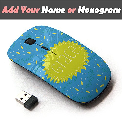 Personalized Custom Monogram Name Optical 2.4G Wireless Mouse - Yellow Glowstick Blue