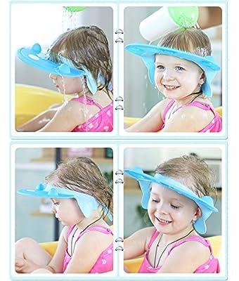 MeGaLuv Baby Shower Cap - Soft Elastic Adjustable Bath Shampoo Visor Hat for Toddler, Baby, Kids, Children