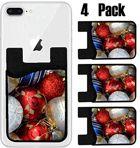 Bauble Card - MSD Phone Card holder, sleeve/wallet for iPhone Samsung Android and all smartphones with removable microfiber screen cleaner Silicone card Caddy(4 Pack) Christmas baubles in a local market stall IMAGE