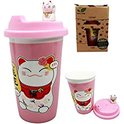 Atlantic Collectibles Lucky Cat Maneki Neko Ceramic Tall Drink Mug Cup With Silicone Lid (Pink)