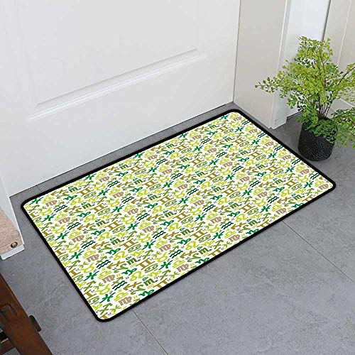 TableCovers&Home Boots Scraper Mat, Astrology Custom Doormats for Office, Horoscopes Zodiac Symbols Green Tones Pisces Scorpio Leo Libra Icons (Green Khaki Pale Brown, H32 x W48)