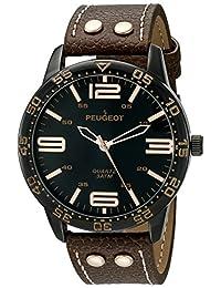 Peugeot Men's 'Big Black Face Aviator Sports' Quartz Brown Leather Aviator Watch (Model: 2049BBR)