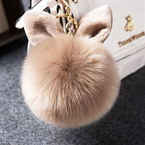 12 cm Rabbit Ears Fur Ball Bag Charms with Golden Keyring Pom Pom, Fluffy Fur Ball Keychain for Car Keyring, Charm Gift (Khaki)