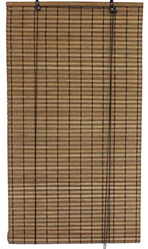 Bamboo Shade Matchstick 72 - Seta Direct, Brown Bamboo Slat Roll Up Blind - 48-Inch Wide by 72-Inch Long